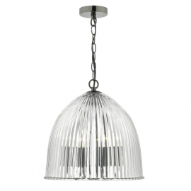 Dar Lighting Usher 3lt Glass Ribbed Pendant  (USH0332)